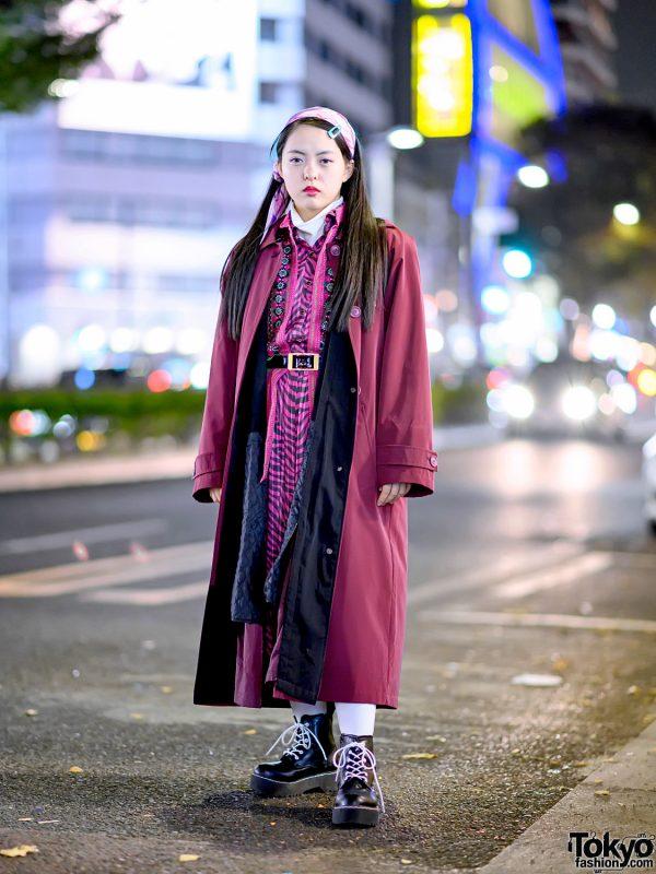 Harajuku Girl in RRR Vintage Purple Coat, Vintage Animal Print Dress, Floral Vest, Headscarf & Boots