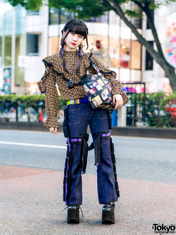 Harajuku Girl in Strap Pants, Vintage Blouse, Yosuke Platform Shoes & Vivienne Westwood Accessories