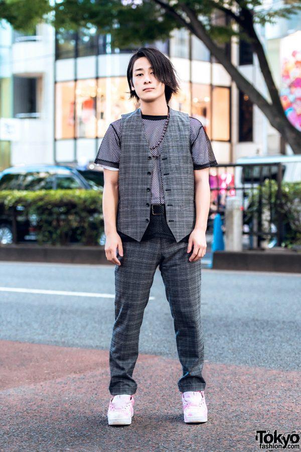 Harajuku Guy in Plaid Vest, Mesh Shirt, Plaid Pants & Nike Sneakers