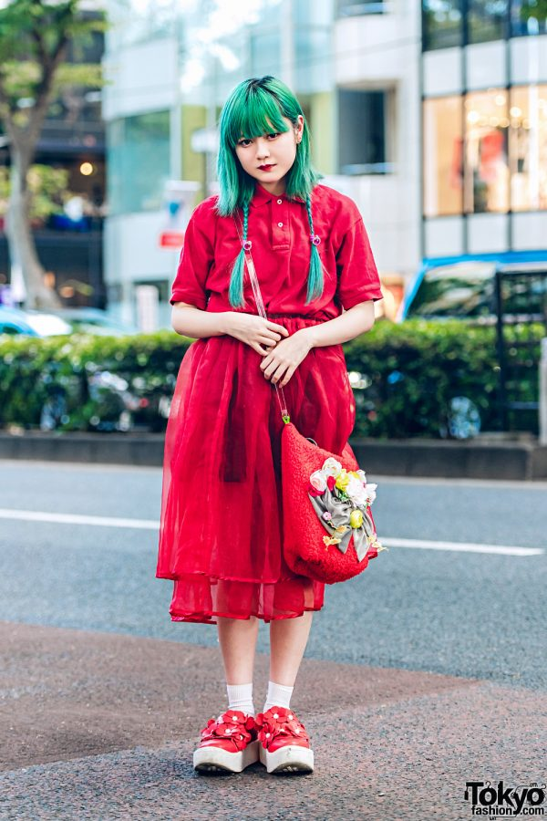 Green Hair & Vintage Street Style w/ G2?, Bubbles, Miyanishiyama, Claire's & Tokyo Bopper