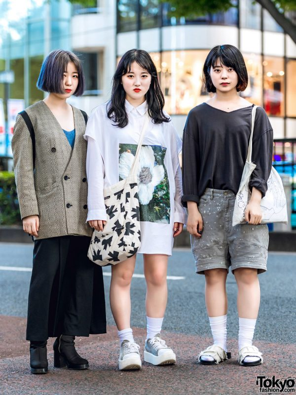 Harajuku Girl Trio in Casual Street Styles w/ Fendi, Yohji Yamamoto, Open The Door, Balmung, Comme des Garcons, Tokyo Bopper & Tsumori Chisato