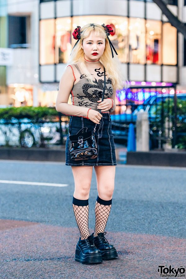 Harajuku Street Style w/ Spider Lily Odango Covers, UNIF Dragon Print, Denim Skirt, Demonia Platforms & UNIF Crossbody Bag