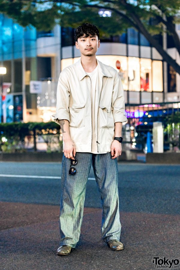 Japanese Hair Stylist in Casual Minimalist Menswear Fashion w/ Journal Standard Parka & Chevron Patterned Pants, Plain White Tee & Vintage Lace-Up Loafers