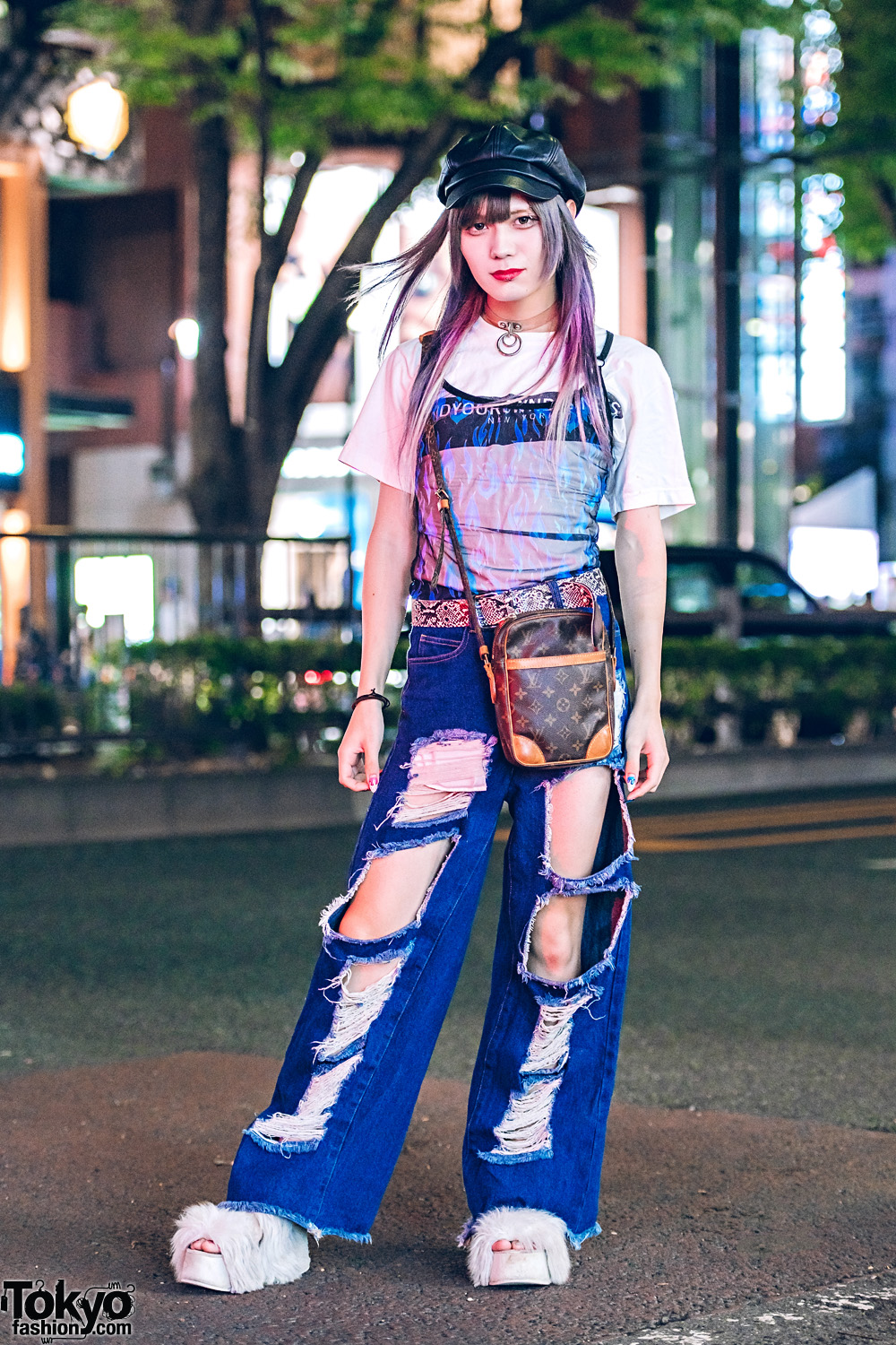 Ripped Jeans & Faux Fur Shoes Harajuku Street Style w/ M.Y.O.B., Current Mood, Fig & Viper, Louis Vuitton, Jeffrey Campbell & WEGO