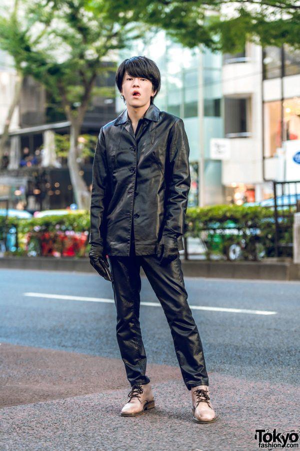 Harajuku Black Leather Street Style w/ Button Down Jacket, John Lawrence Sullivan Pants, Dries Van Noten Boots & Leather gloves