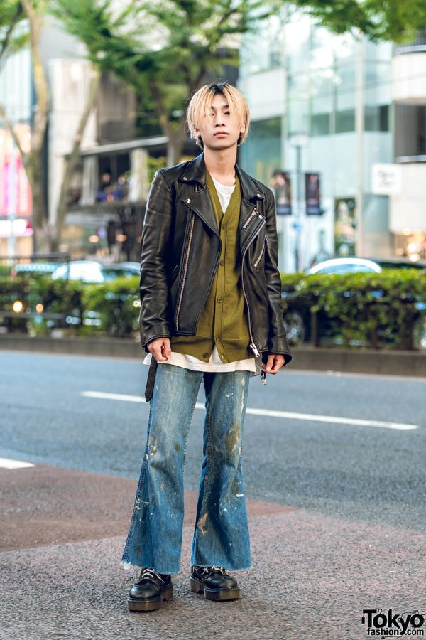 Cyber Dyne Leather Jacket, Allege Top, Levi's Flared Jeans & Dr. Martens Shoes in Harajuku