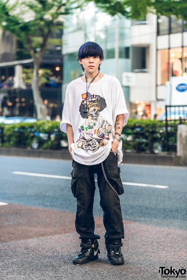 Harajuku Guy in Punk Inspired Streetwear w/ Comme des Garcons, Supreme, Nike & Chrome Hearts