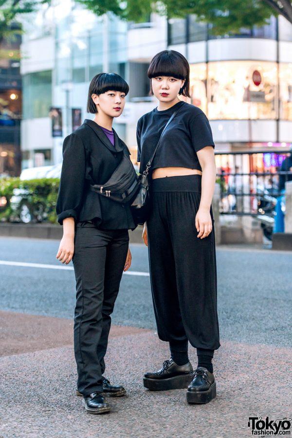 All Black Minimalist Streetwear Styles w/ Plaza South, Dickies, Dr. Martens, Remake UNIQLO & Yosuke Creepers