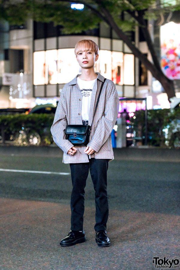 Harajuku Guy w/ Beep Plaid Top, Love And Kiss Shirt, Acne Studios Pants & Vintage Bag