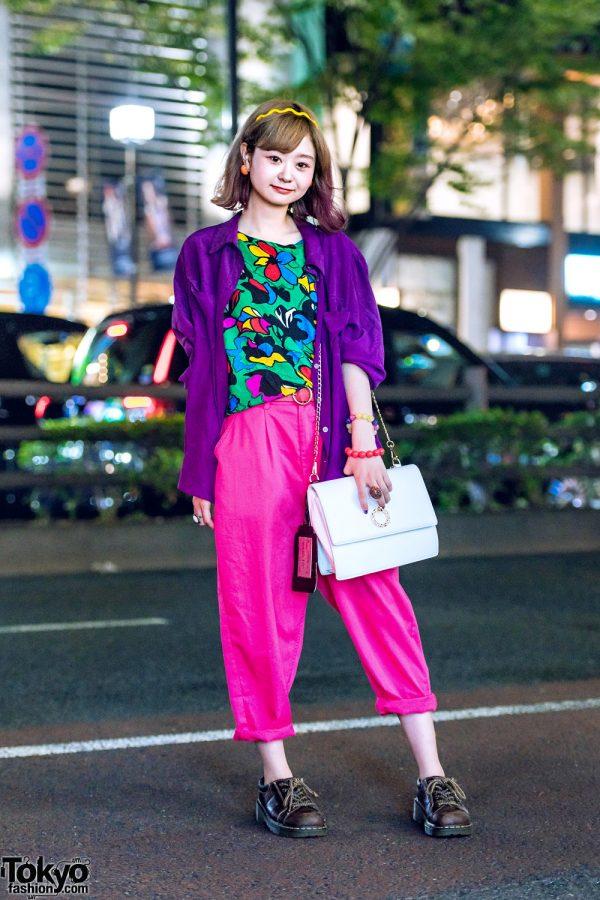 Floral Top & Pink Pants Harajuku Colorful Street Style w/ Kinji, Dr. Martens & WEGO