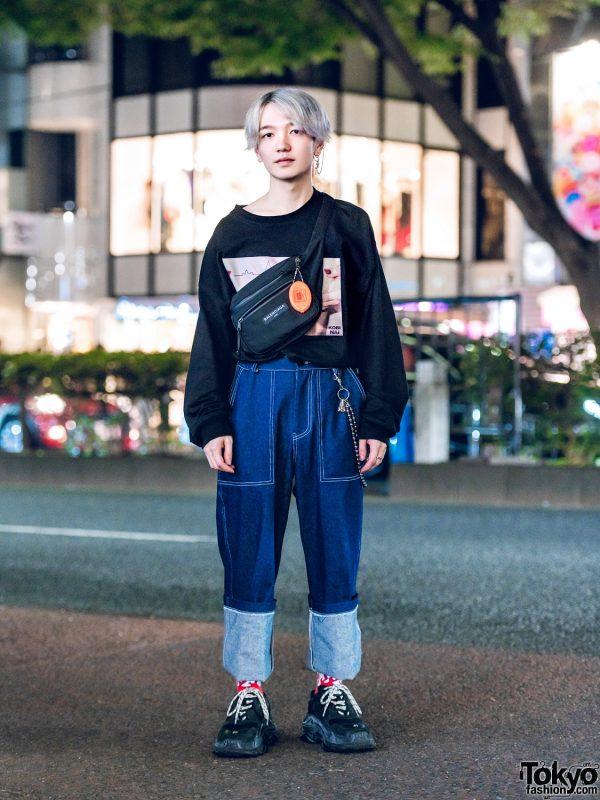 Japanese Hair Stylist in Casual Streetwear Style w/ Kobinai, Basic Cotton & Balenciaga