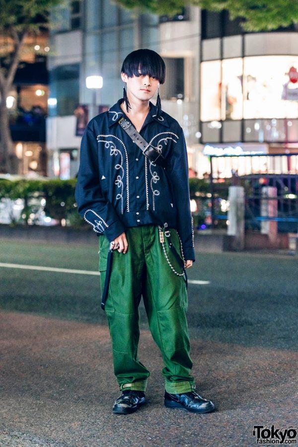 Vintage Street Style in Harajuku w/ Cowboy Shirt, Belted Hem Pants, Christian Dada Feather Earrings