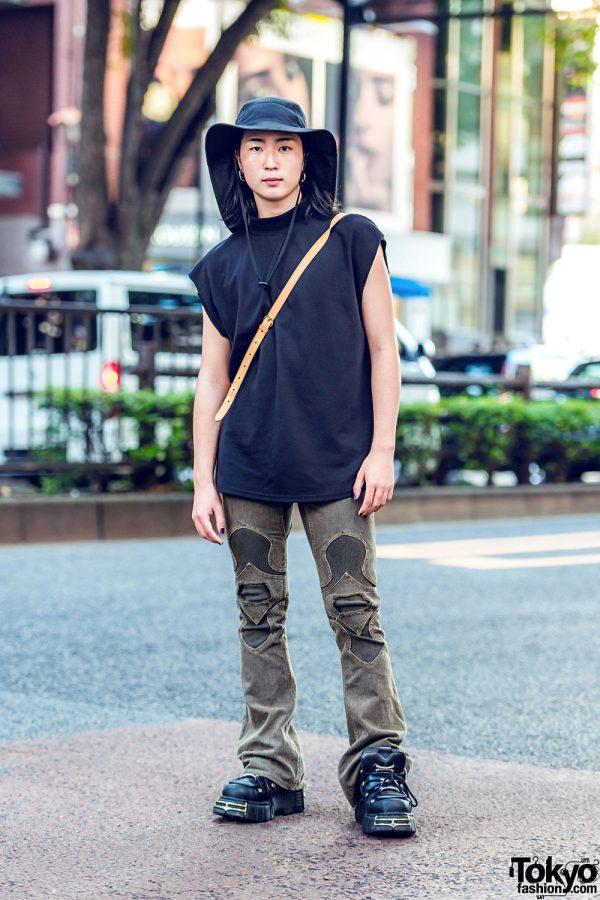 Tokyo Handmade & Vintage Street Style w/ Wide Brim Hat, Louis Vuitton Bag & New Rock Sneakers