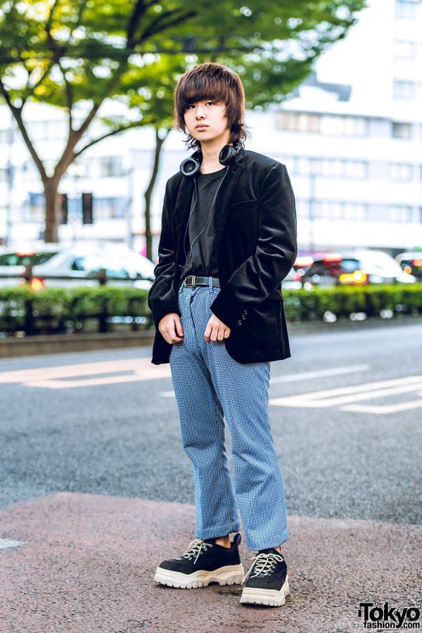 Harajuku Guy w/ Comme Ca Ism Blazer, Bucca44 Top, Vintage Houndstooth Pants & Eytys Sneakers