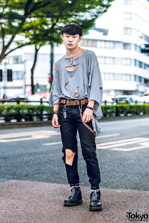 Distressed Japanese Street Style w/ Ripped Sweatshirt, Cut Out Pants, Dr. Martens Boots & Rhinestone Cross Necklace