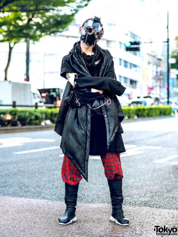 Fashion Designer TKM@freedom in Harajuku Street Style w/ Coin Sunglasses, Chained Face Mask, Vintage Vest, Rowan Hoodie, Hikari Onozaki & Rick Owens Footwear