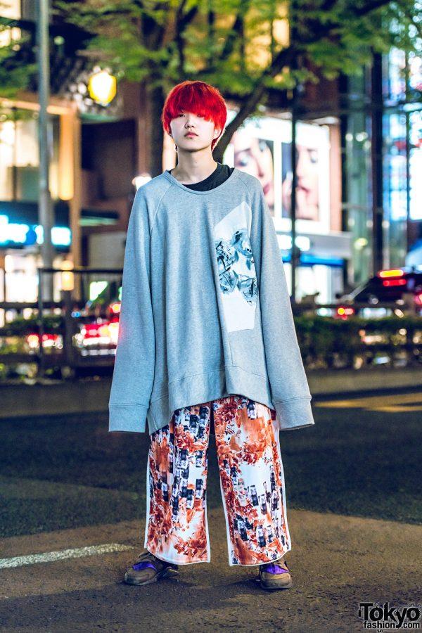 Red-Haired Harajuku Guy in Oversized Printed Streetwear w/ Balmung & Nike