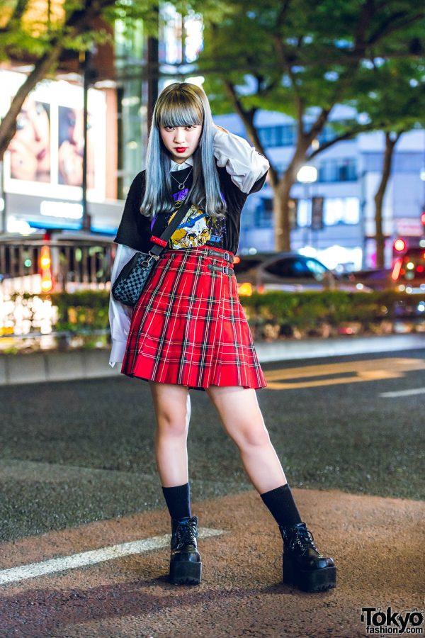 Harajuku Girl in Plaid Skirt, Metallica T-Shirt, Platform Shoes & Crossbody Bag