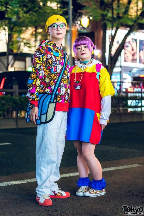 Japanese Couple Street Style w/ A Bathing Ape x Sanrio Character Prints, RNA Media, Zetsumetsu Kigushu Colorblock Dress, JanSport, 6%DokiDoki & Jump From Paper Crossbody Bag