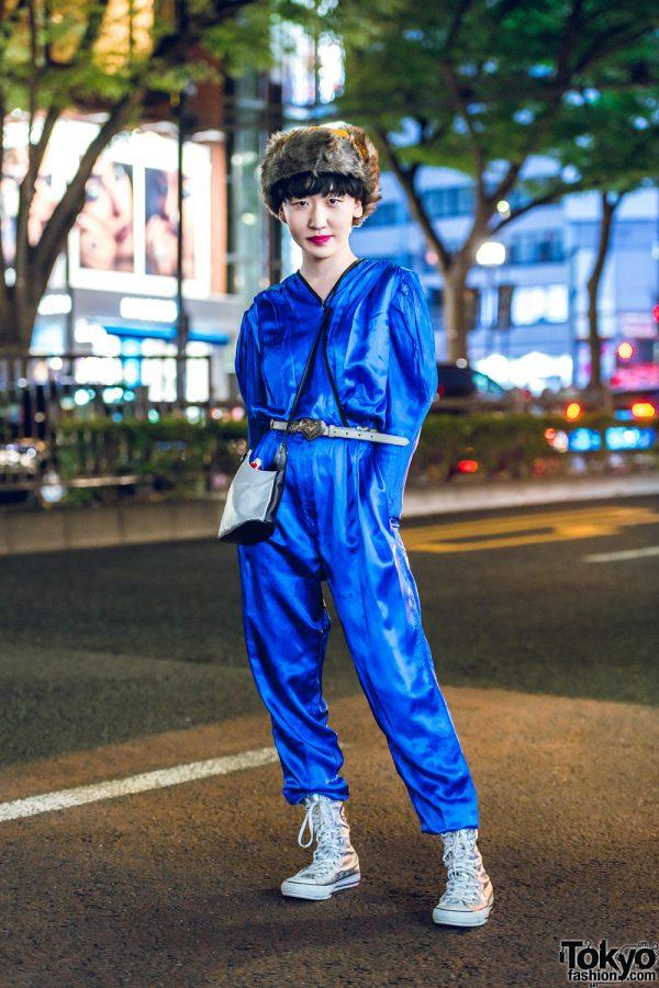 Faux Fur Hat & Electric Blue Jumpsuit Harajuku Vintage Street Style