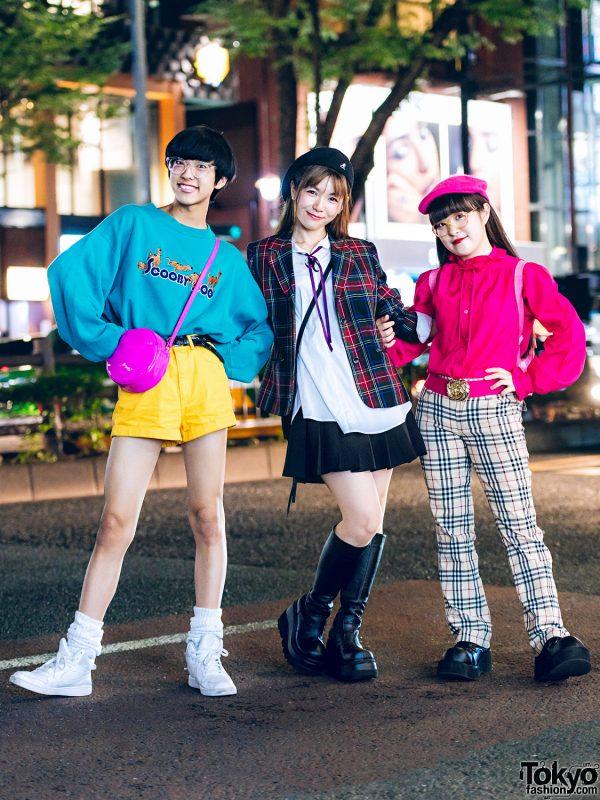 Colorful Harajuku Street Styles w/ Scooby Doo Sweater, Funktique Tokyo Plaid, Ruffle Blouse, Kiki2 Hello Kitty Backpack & Demonia Shoes