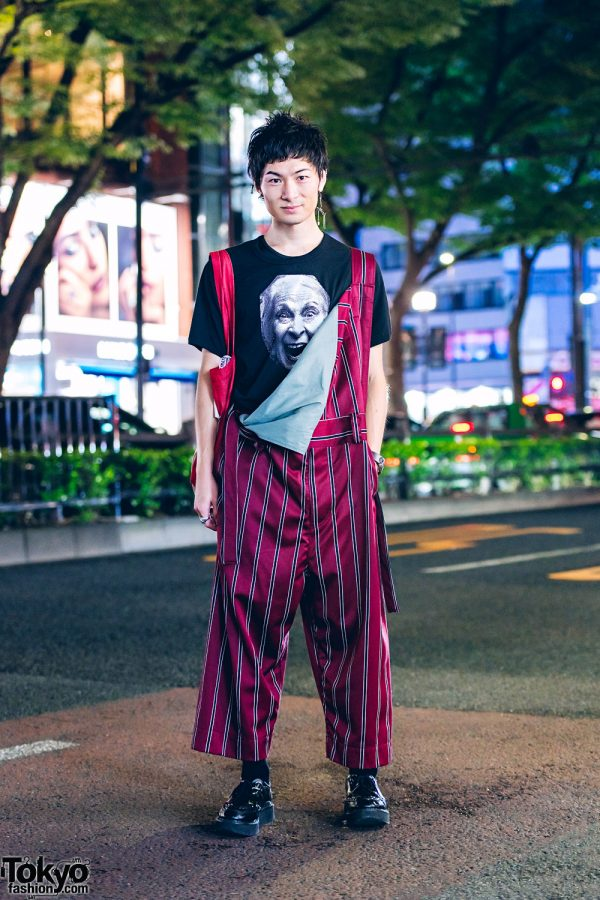 Vivienne Westwood World's End Streetwear Style w/ Face Print Shirt, Striped Overalls, Skeleton Earring & George Cox Creepers