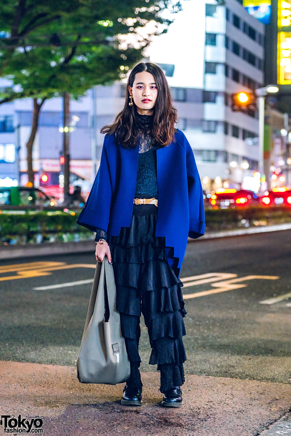 Gender Queer Fashion Designer in Harajuku w/ QFD Coat, Tiered Ruffle Pants, Dr. Martens Baby Doll Shoes & UNFLL Bag