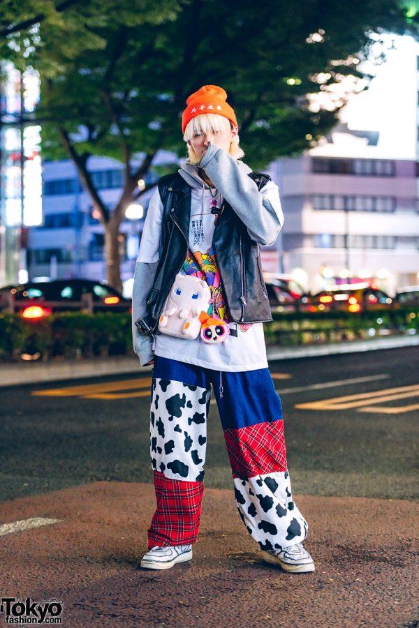 Harajuku Casual Street Style w/ Jin Kawaguchi, Kobinai, Nike Sneakers, Remake Pants, Pokemon Sling & Powerpuff Girls