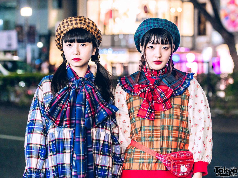 HEIHEI Harajuku Girls in Plaid Ruffle Dresses, Bows, Berets, Akira Uno, Hello Kitty Waist Bag & Tokyo Bopper
