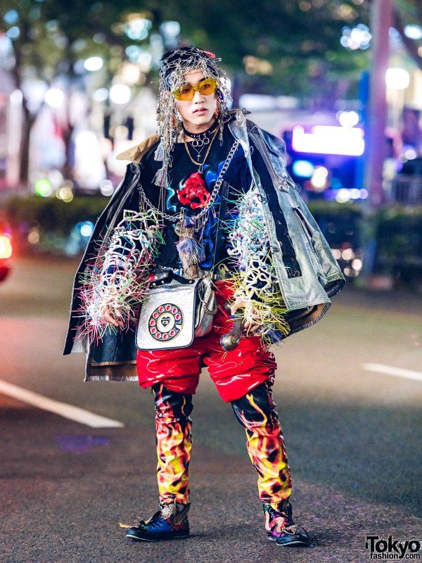 Harajuku Avant-Garde Streetwear w/ Safety Pin Headpiece, Dog Harajuku, Heron Preston & Dolls Kill