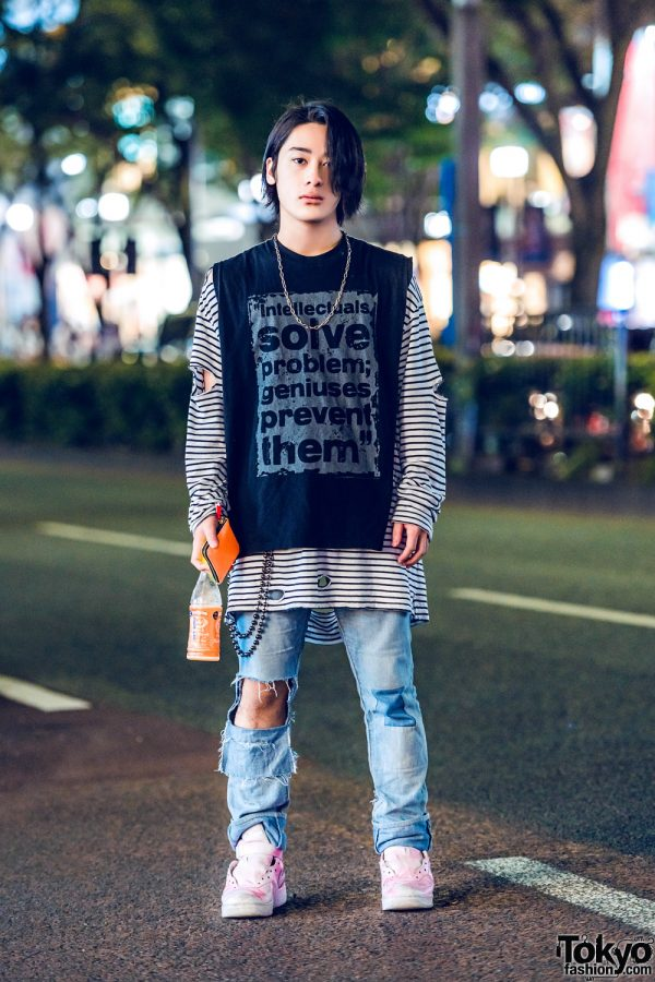 Distressed Street Casual Harajuku Fashion w/ Statement Sleeveless Tee, Striped Sweatshirt, Ripped Jeans & Nike High Top Sneakers
