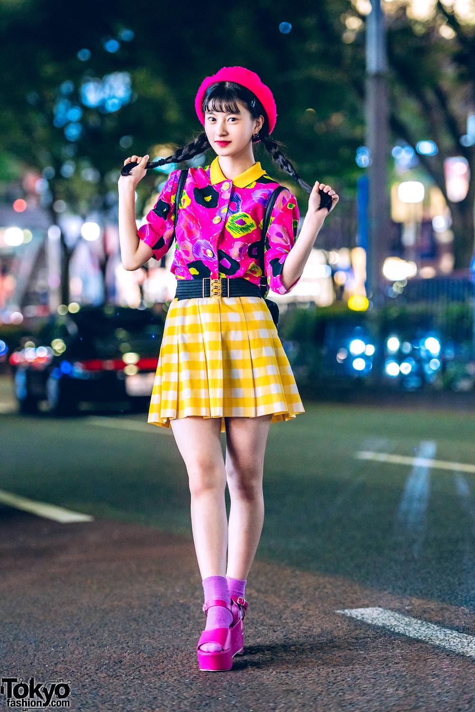 480d7291282 Cheerful Harajuku Teen Style w  Pink Beret