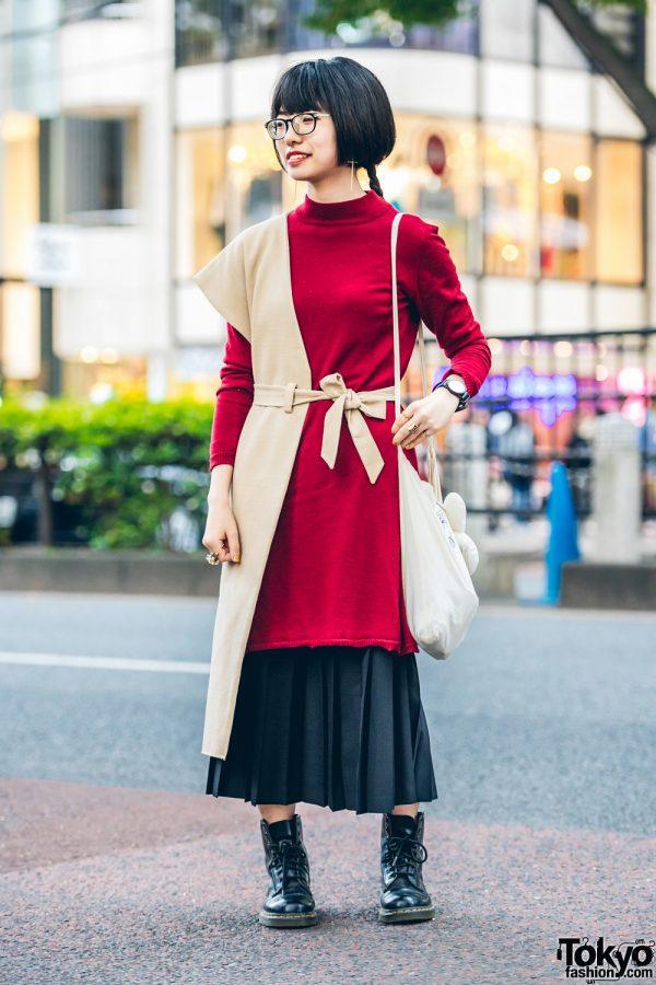 Chic Harajuku Streetwear Style w/ Akira Furukawa Half-Vest, Sweater Dress, Midi Skirt, Dr. Martens Boots & Higher Magazine Sling Bag