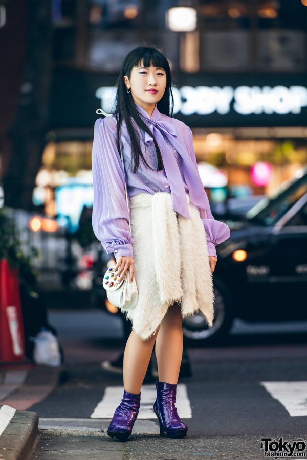 Chic Vintage Harajuku Street Style w/ Pussybow Blouse, Furry Cardigan as Skirt, Patent Purple Boots & Buttons Sling Bag