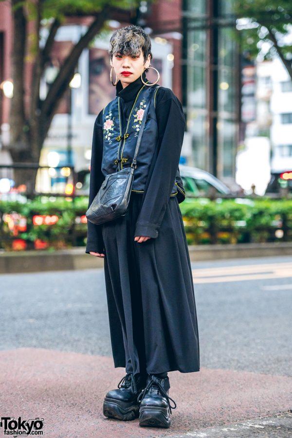 Japanese Streetwear Style w/ Floral Vest, Upturned Collar Shirt, Wide Leg Pants & Demonia Platforms