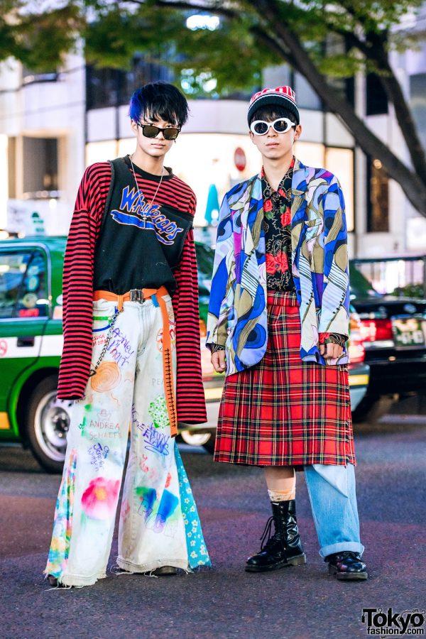 Eclectic Mixed-Prints Streetwear Styles w/ Not Conventional, O.WELL.Kitakoshigaya, Lemontea, Plaid Wrap Skirt & Vintage Flared Jeans
