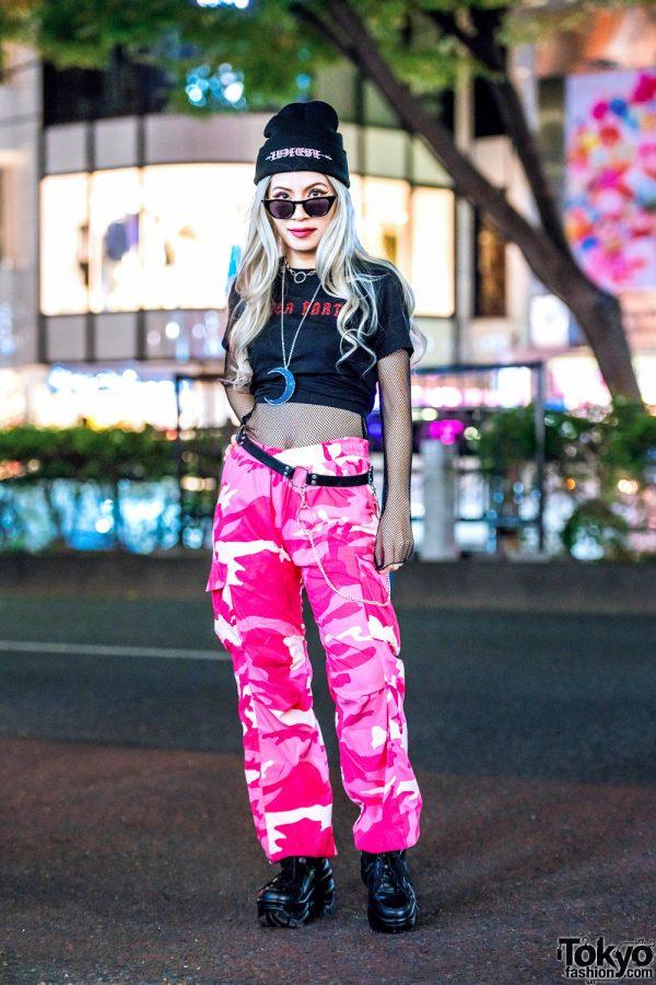 Tokyo Fashion Designer in Pink Camouflage Pants, Fishnet Top, Superradical Beanie & Killstar Necklace