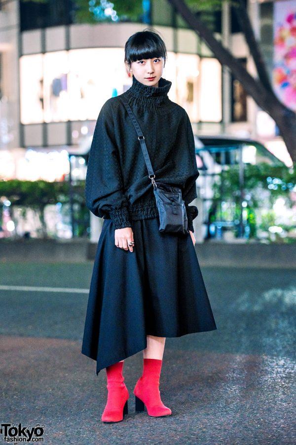 Chic Minimalist Street Style in Harajuku w/ Goto Asato Turtleneck, Comme des Garcons Asymmetrical Skirt, Emoda Boots & Muji Crossbody Bag