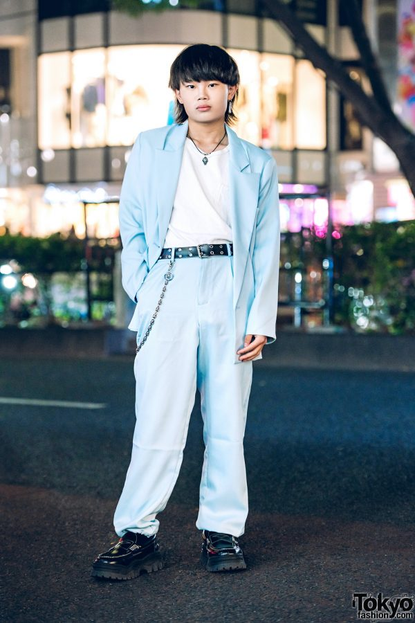 Faith Tokyo Blue Suit Menswear Style w/ Vintage Top, Eytys Shoes & Oh Pearl Accessories