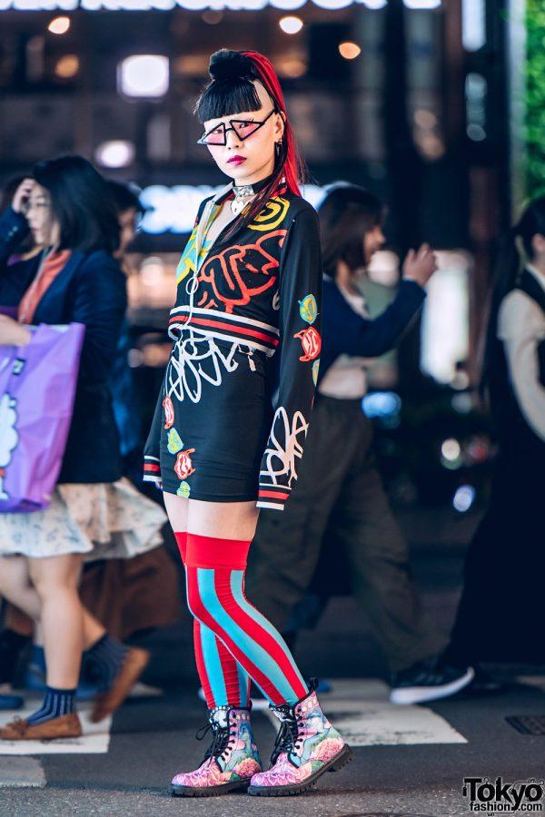Neuron Nailz Tokyo Owner's Streetwear Style w/ Meek, Dolls Kill Mini Dress, Striped Thigh Socks, Floral Print Boots, Triangle Glasses & Heart Choker