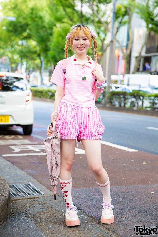 Pink Kawaii Street Style in Harajuku w/ Spinns, Listen Flavor, WEGO Bunny Ties, Claire's & ACDC Rag Creepers