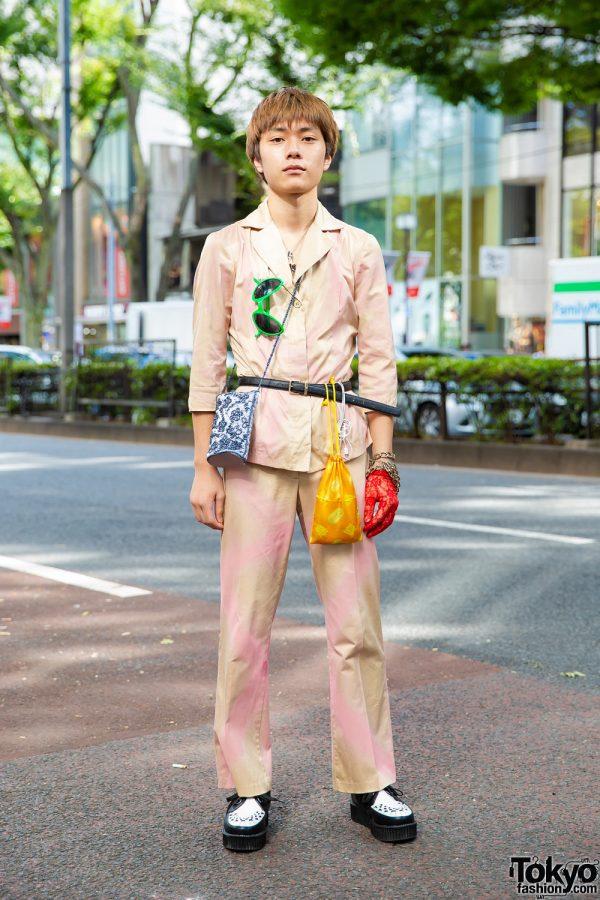 Harajuku Menswear Street Style w/ 3/4 Sleeve Suit, Creepers, Ebichu Necklace & Alien Sunglasses