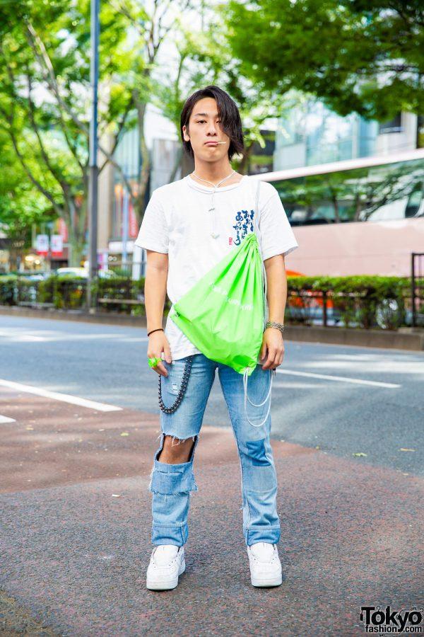 Harajuku Guy w/ Vintage Tee, Levi's Ripped Jeans, Gosha Rubchinskiy x Adidas Bag & Nike Sneakers