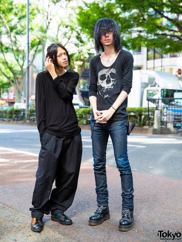 Harajuku Guys Black Streetwear Styles w/ Y by Alexander Wang, Issey Miyake Sneakers, Y's Pants, Skull Shirt & Silver Jewelry