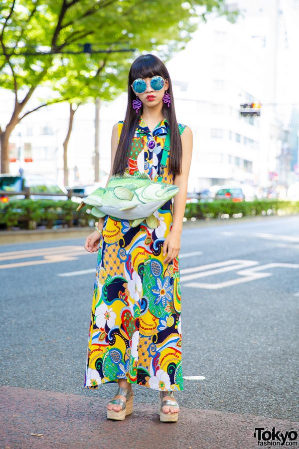 Harajuku Girl w/ Multicolored Floral Dress, Snake Earrings, Cork Platform Sandals & Fish Bag