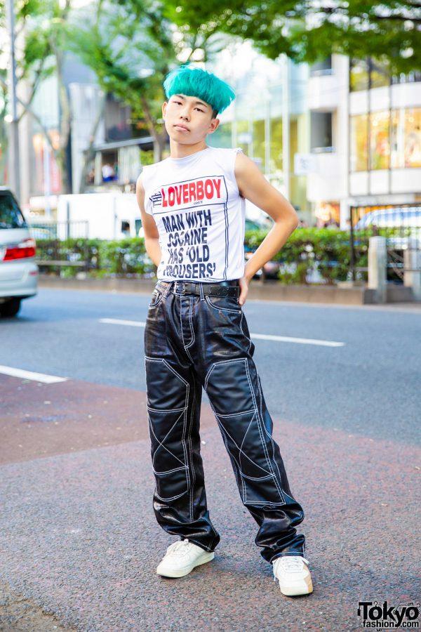 Green Hair, Charles Jeffrey Loverboy Top, Eytys Pants & Nike Shoes in Harajuku