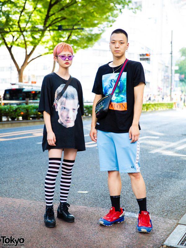 Harajuku Duo in Black Street Casual Looks w/ Heron Preston, Fred Perry, Stranger Things T-Shirt, Raf Simons x Adidas, Jam Home Made & Supreme