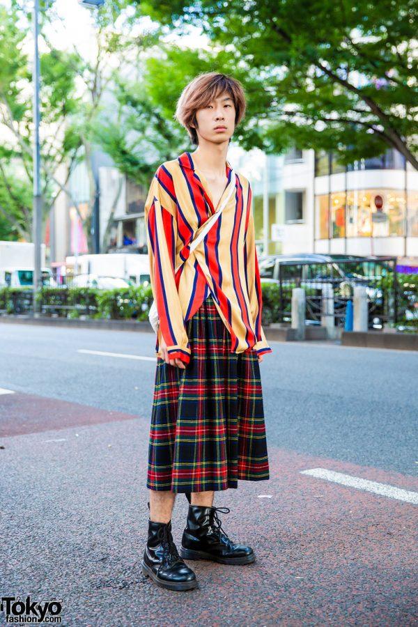 Mixed Prints Tokyo Vintage Mens Streetwear Style