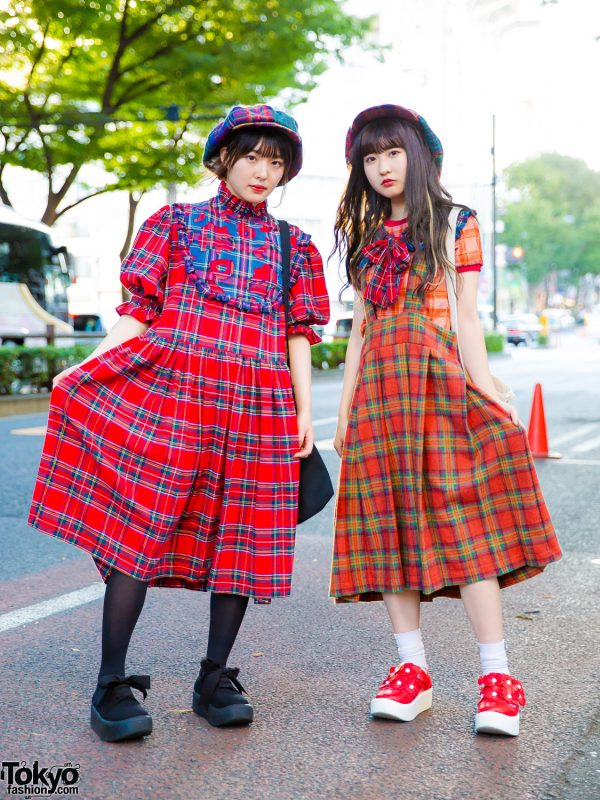 HEIHEI Harajuku Girls Plaid Street Styles w/ Ruffle Dress, Jumper Skirt & Tokyo Bopper Shoes