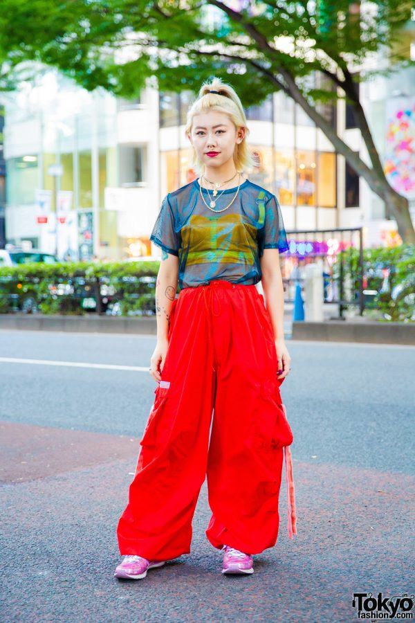 Harajuku Girl's Streetwear w/ Pinnap See-Through Shirt, Corset, Parachute Pants, VidaKush Accessories & Faith Tokyo Metallic Sneakers